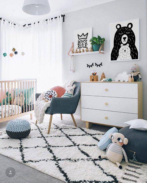 Mama Baby Bear Print Gender Neutral Monochrome Poster