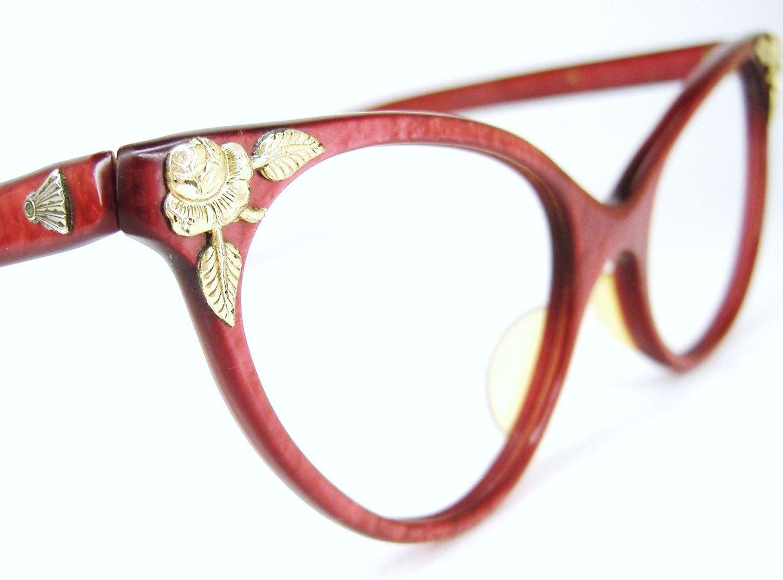 Vintage Red Eyeglasses Sunglasses Cat Eye 1950s 1960s Eyewear 12k GF Flower Ornaments