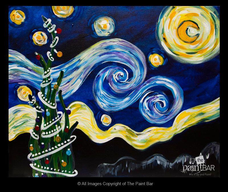 Holiday version of Starry Night...maybe this could spark ideas for ...