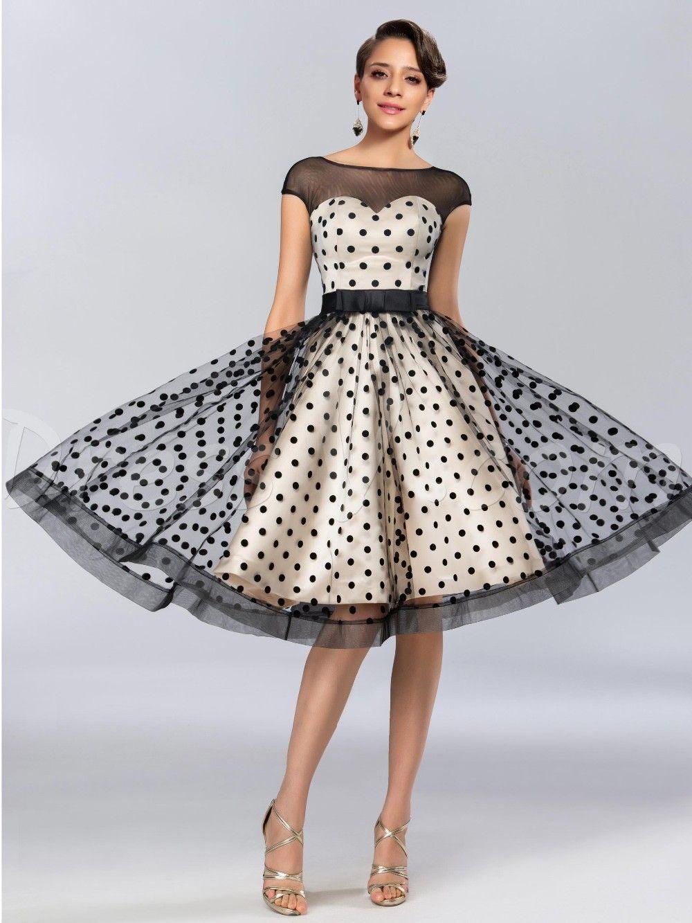 Cheap Precioso longitud de la rodilla vestidos cóctel 2015 Polk Dot ...
