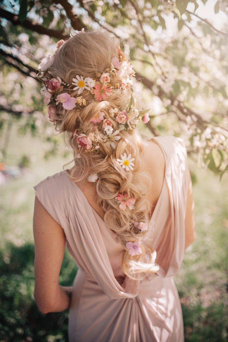 Romantic floral pink white flower wedding hair accessory #brautblume