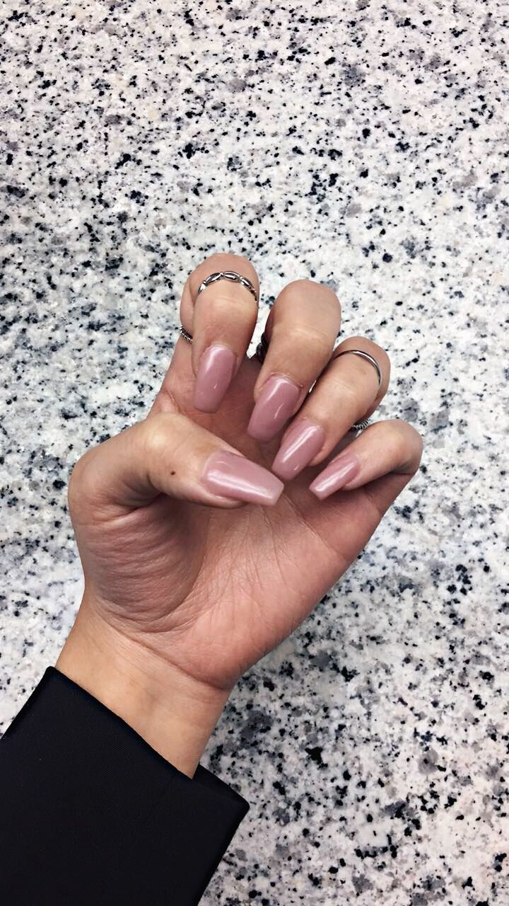 Dusty Rose Light Pink Coffin Acrylic Nails Pink Acrylic Nails Nails Acrylic Nails Coffin
