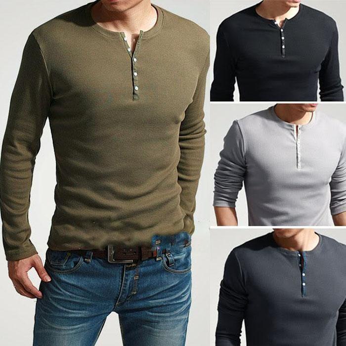 Men's Cool Long Sleeve Henley Slim Fit T-Shirt TEE Dexter Kill ...