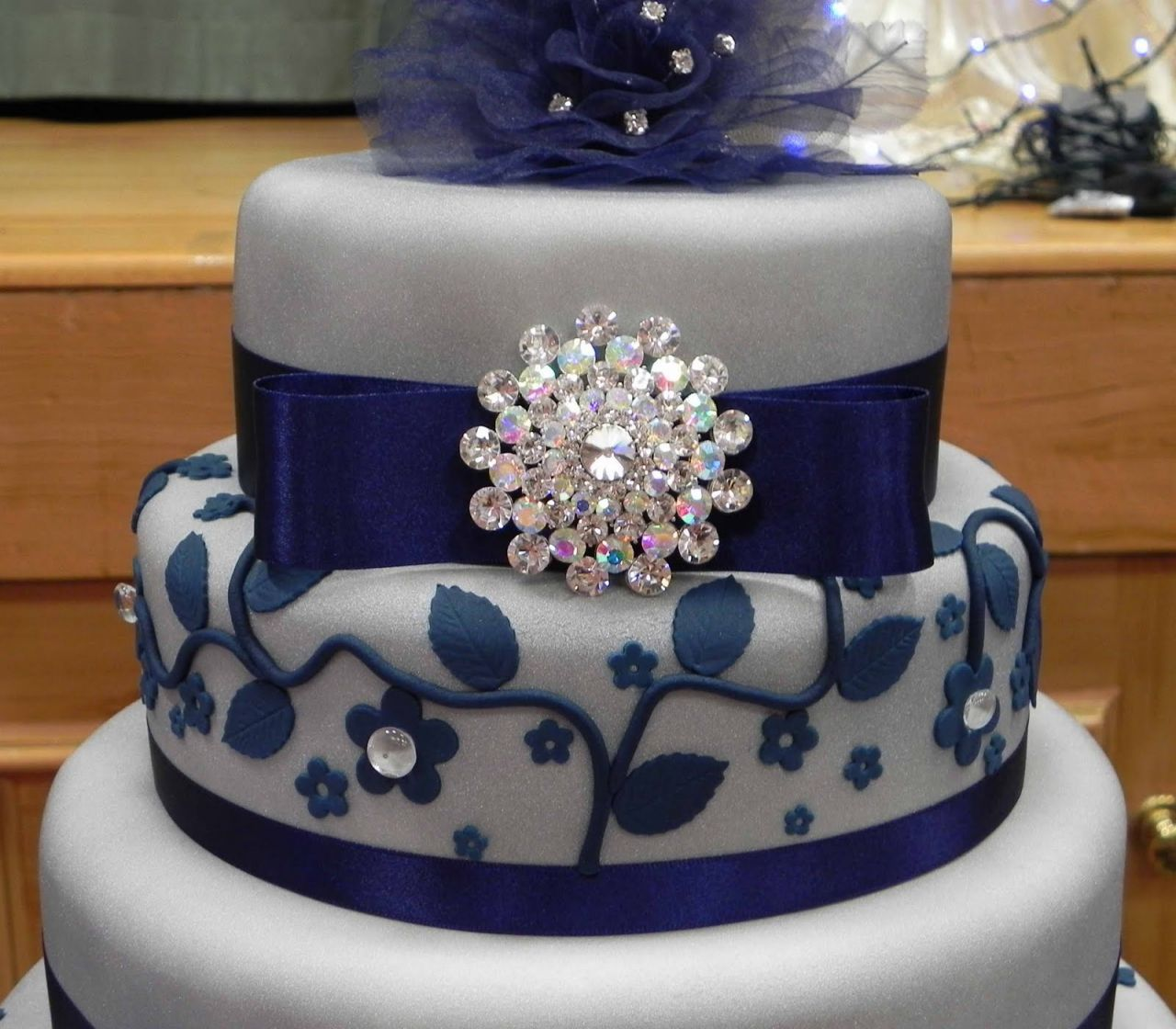 Royal Blue White And Silver Wedding Cakes