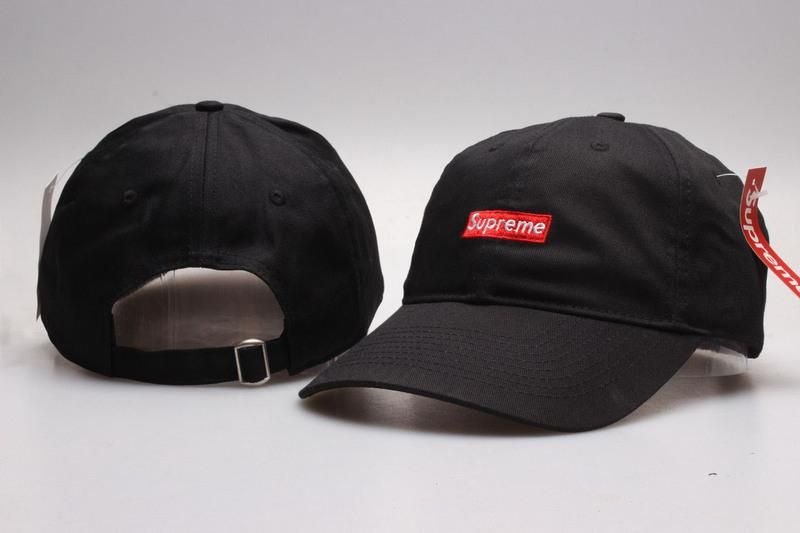 Men s   Women s Unisex Supreme Iconic Bar Embroidered Logo 6 Panel Strap  Back Baseball Adjustable Hat - Black   Red 8482a6a43dcc