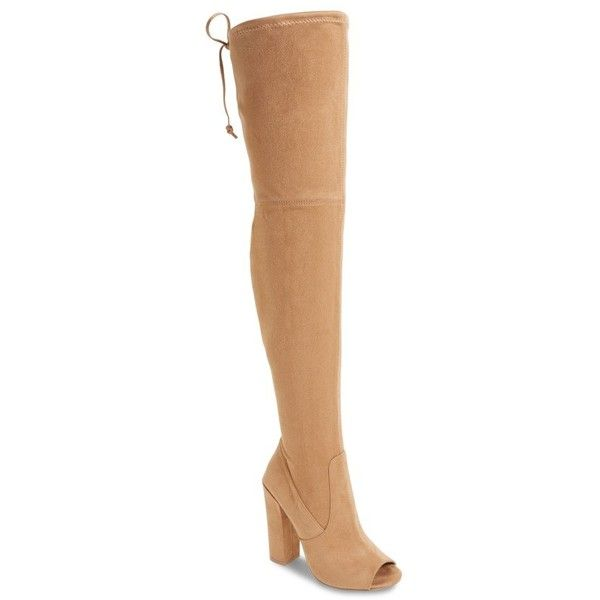 Women's Steve Madden Elliana Over The Knee Open Toe Boot ($140) ❤ liked on  Polyvore featuring shoes, boots, nude, nude boots, steve madden over the  knee ...