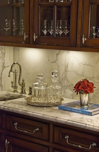 gorgeous splash and counter top in butlers pantry