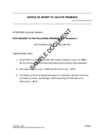 Printable Sample  Day Notice To Vacate Template Form  Real