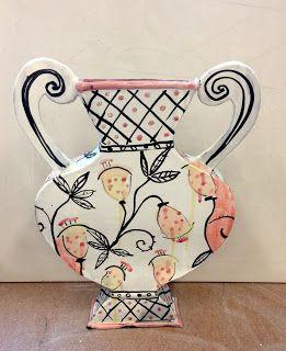 Josie Jurczenia Flat Vase 2 Pottery Designs Slab Ceramics Hand Built Pottery