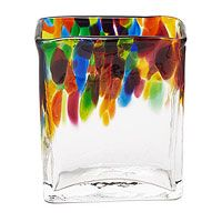 HAND BLOWN RECYCLED GLASS RECTANGLE VASE