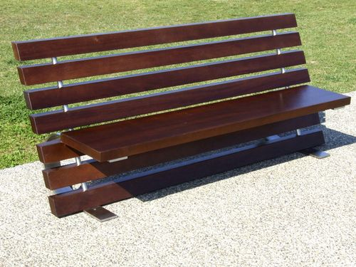 Public bench / contemporary / exotic wood / stainless steel LINEA by Gibillero design CITYSI srl