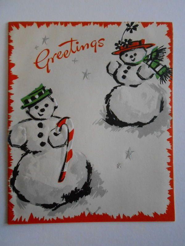 Embossed Snowman Couple Stars 1950\u0027s Vintage used Christmas Greeting