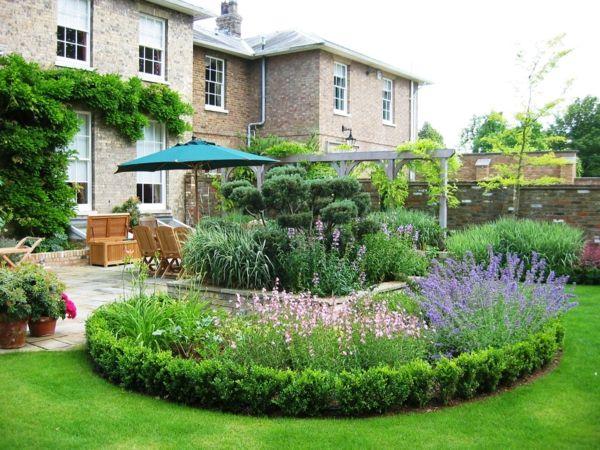 Runde Garten Gestaltung Ideen Gartenpflanzen Blumen Buchsbaum