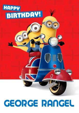 Minions Scooter Happy Birthday Card Funky Pigeon Love