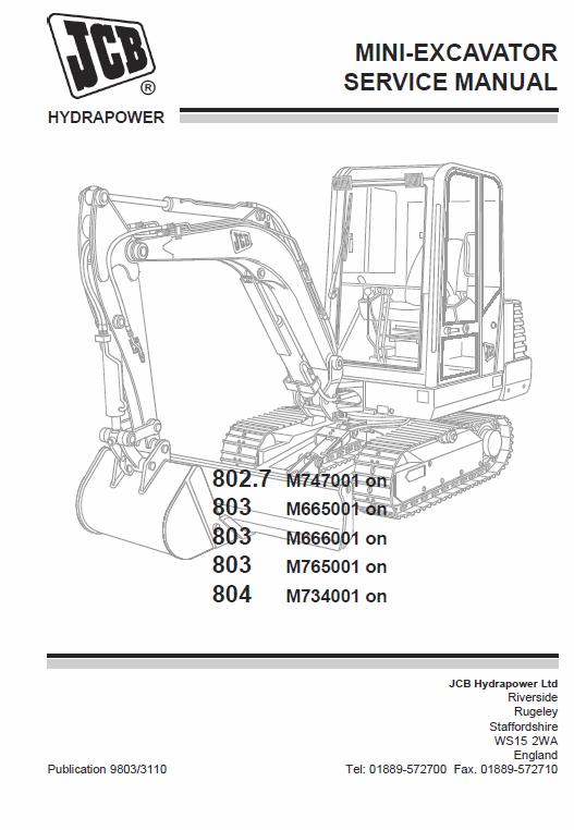 JCB 802 7, 803, 804 Mini Excavator Service Manual | JCB Manuals