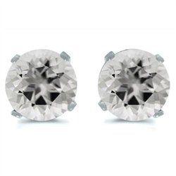 14K White Gold 3mm Round White Topaz Stud Earrings