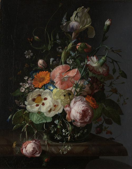 ce-sac-contient: Rachel Ruysch (1664-1750) - Still Life with Flowers on a Marble Tabletop, 1716 Huile sur toile (48,5 x 39,5 cm)