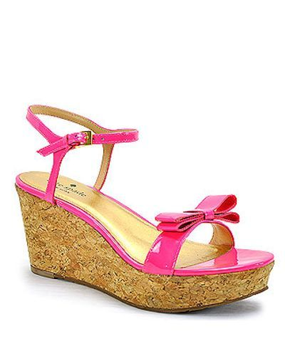 28086956e6 size 6 kate spade new york | Pink Patent Bow Cork Wedge Sandal | Lyst