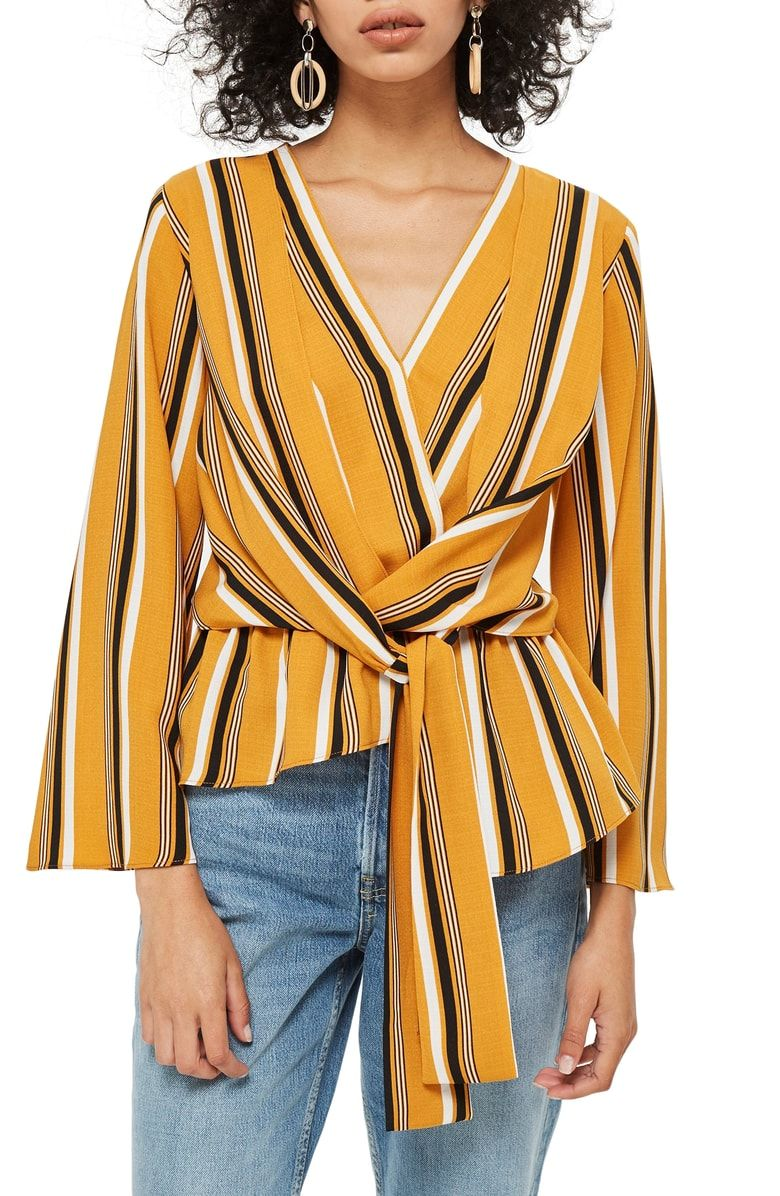 8b0c45a6c88b Free shipping and returns on Topshop Tiffany Stripe Asymmetrical Blouse at  Nordstrom.com. <p>A drapey knotted tie defines the waist of this blousy  crepe top ...