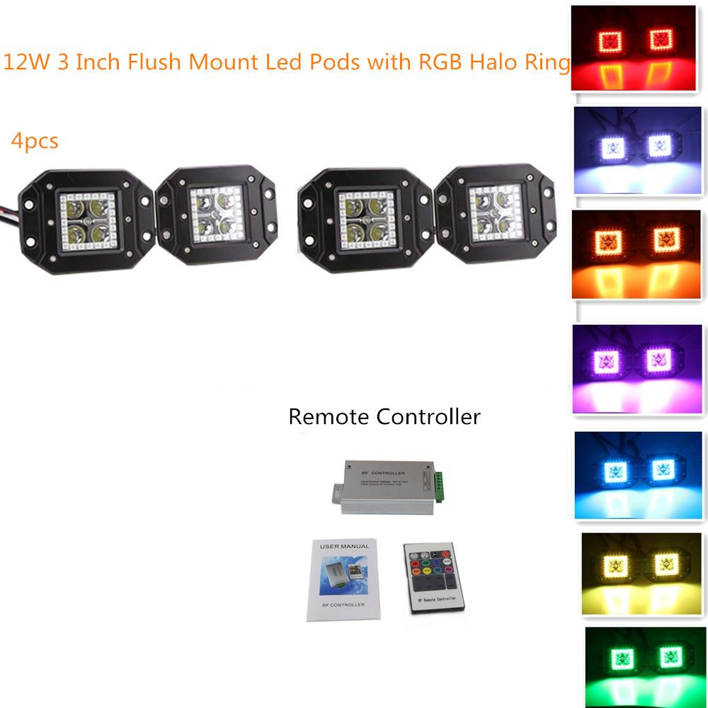 12W 3x3 Inch Remote Controller Flush Mount LED PodsCubes RGB Halo