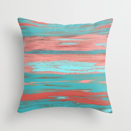 Coral Teal Throw Pillow Cover Aqua Light Coral Abstract Ombre Modern Home Decor Living room bedroom accessories Cushion Euro Sham Cover images