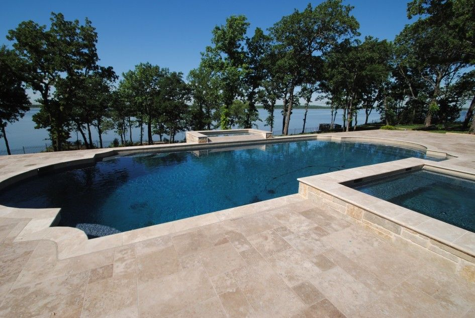 Amazing Travertine Tile Pool Deck With Luxury Glass Mosaic Tiles For Roman Style Swimming Pools Travertine Pool Pool Decks Pool Deck Floor