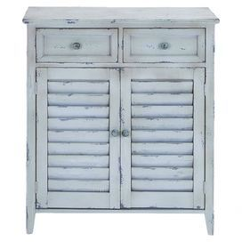 "Weathered wood cabinet with 2 drawers and 2 louvered doors.  Product: CabinetConstruction Material: WoodColor: Distressed blueFeatures: Two drawers and two doorsDimensions: 35"" H x 30"" W x 12"" D"