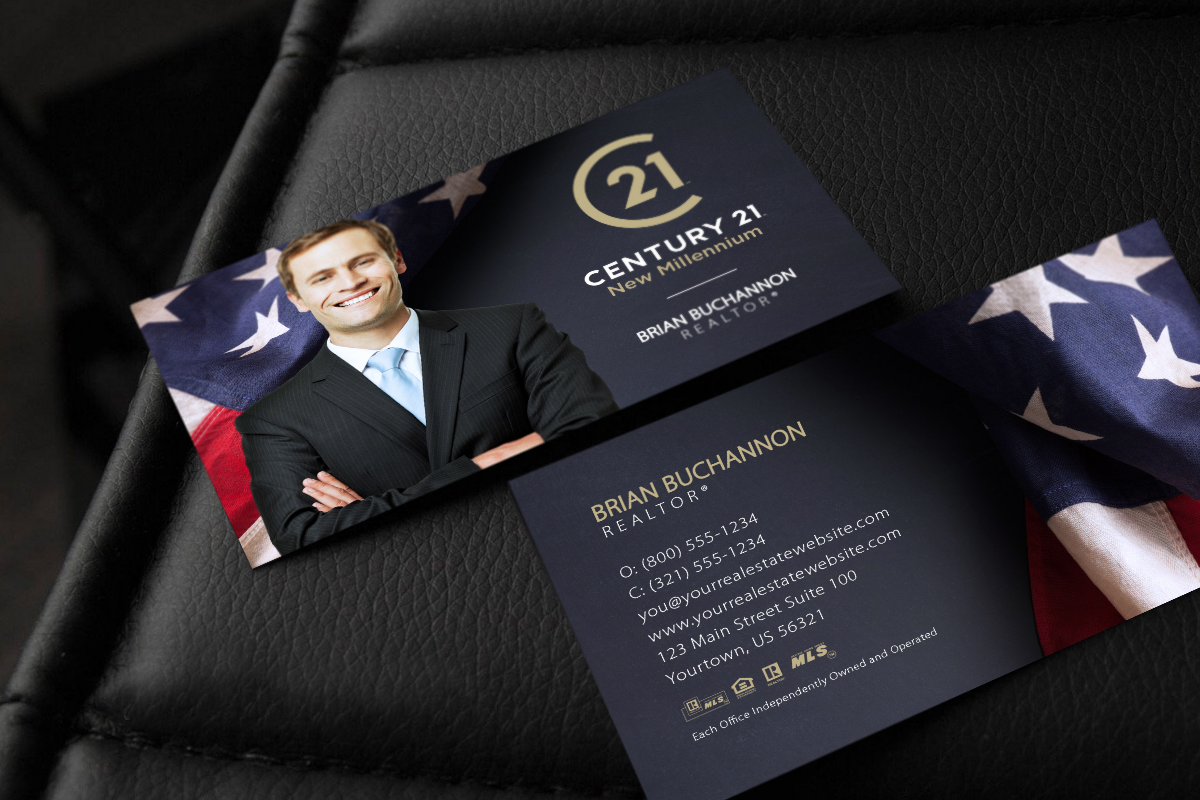American Flag Century 21 Business Card Company Brochure Design Unique Business Cards Business Card Template