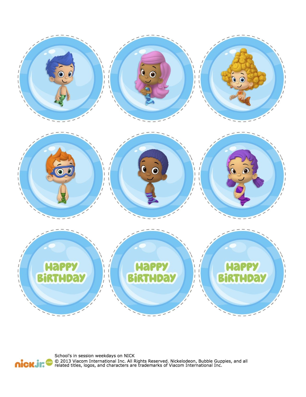 Bubble Guppies Cupcake Topper Printable