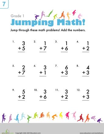 Single Digit Addition Worksheet Education Com Math Addition Worksheets Addition Worksheets First Grade Math Worksheets