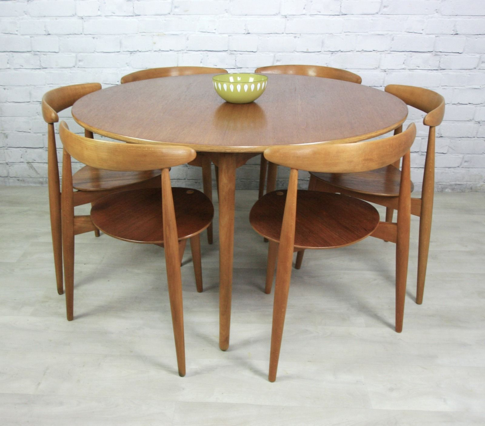 Vintage Hans Wegner For Fritz Hansen Heart Danish Dining Table