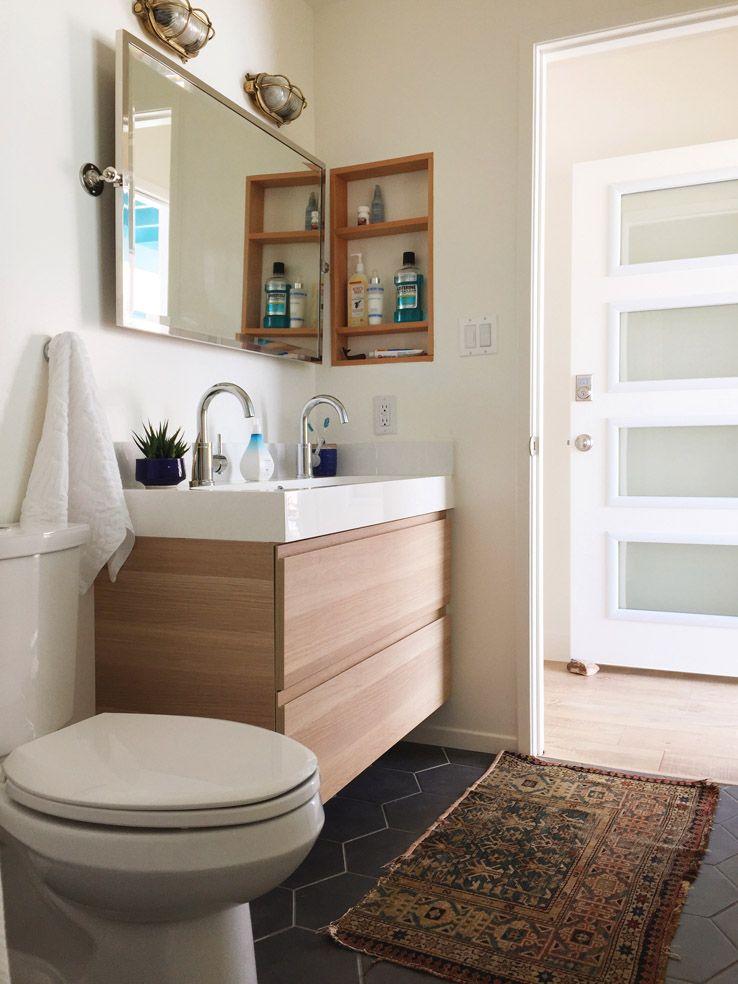 West Elm California Retro Beach House Makeover Mod Bathroom Hex Floor Light Wood Floating Vanity