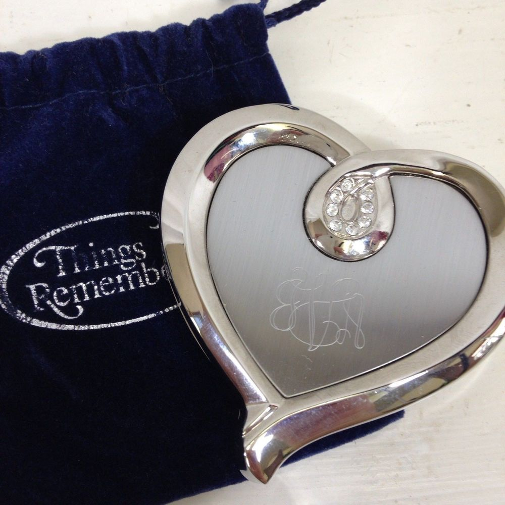 Things Remembered Ribbon Heart Compact Silver Mirror Crystal Details