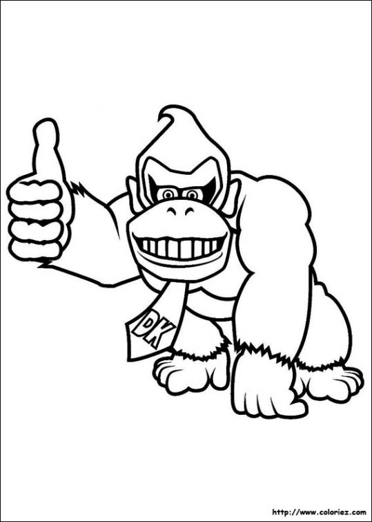 Donkey Kong Giving A Thumb Up Coloring Page For Kids
