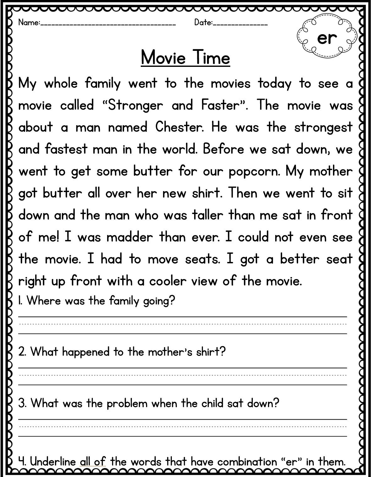 Phonics Passage Reading Comprehension For Kids Reading Comprehension Texts Reading Comprehension Passages [ 1520 x 1181 Pixel ]