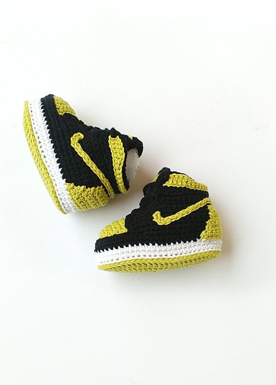Crochet baby Air Jordan Jordan baby shoes by KrissiCrochets | Yarn ...