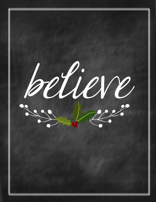 Items similar to Christmas Printable - Believe - Chalkboard Print on Etsy