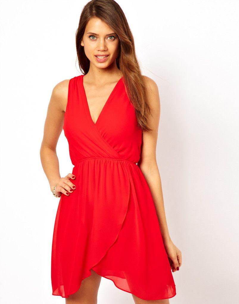 8169096e1d18 Vestido corto rojo   vestidos   Vestidos en chifon, Vestidos y ...