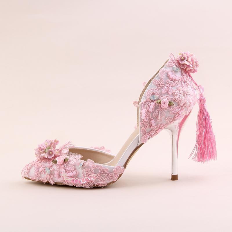 Sweet pink flowers tassel princess shoes bride shoes super high heel sweet pink flowers tassel princess shoes bride shoes super high heel 9cm with dress wedding dress mightylinksfo