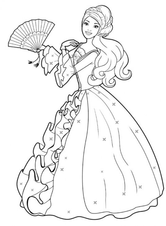 Free Barbie With Ball Gown Coloring Page Coloring Pages