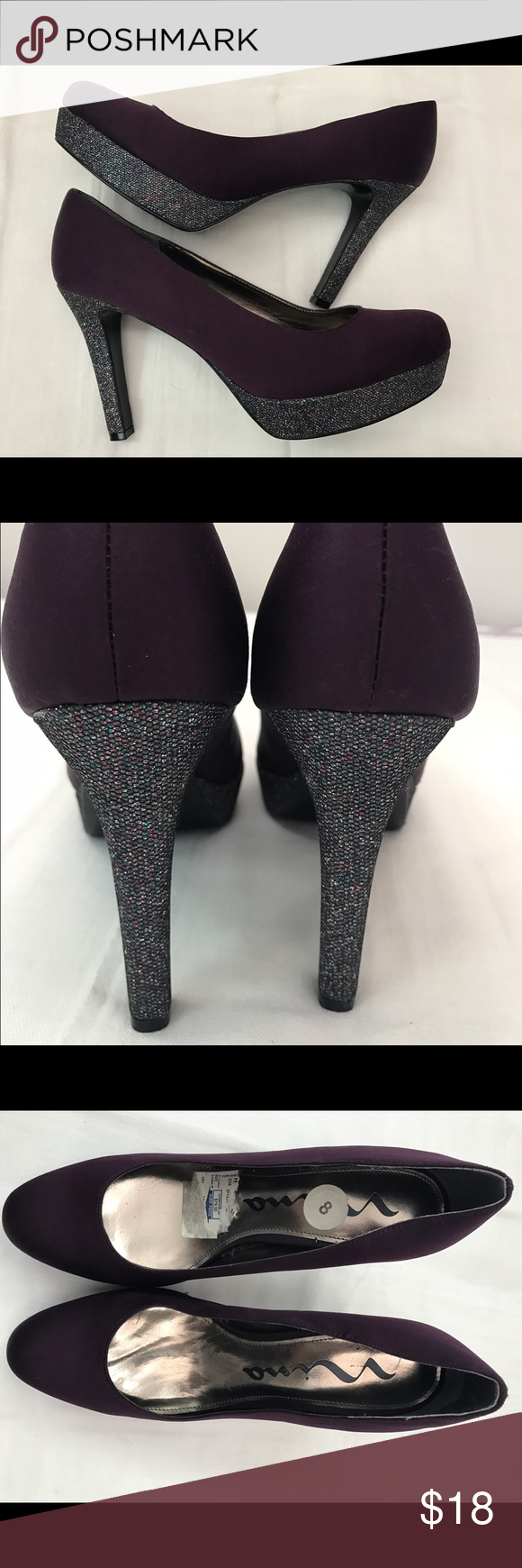"NINA Sparkle Heel Platform Beautiful rich purple satin 4"" heel with sparkle platform and heel. Worn once. Request more pics if needed. Leather sole. Nina Shoes Heels"