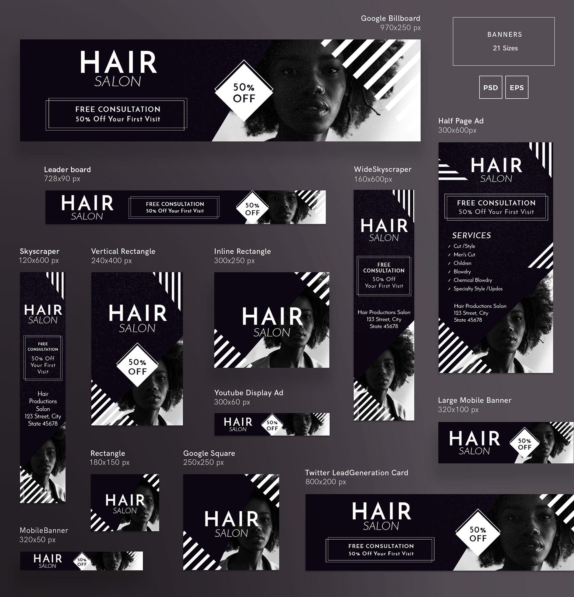 Banners Pack Hair Salon Web Banner Design Banner Design Inspiration Banner Ads Design