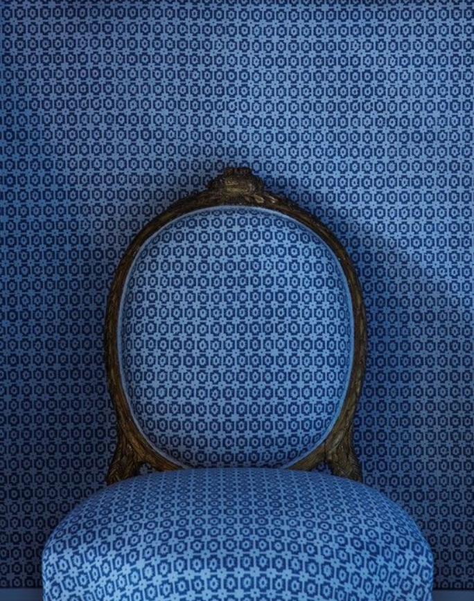 "Match-y Match-y! This stunning matching wallpaper and chair combo features one of Pantone's fabulous ""Color Trend Report"" colors for 2015: Classic Blue."