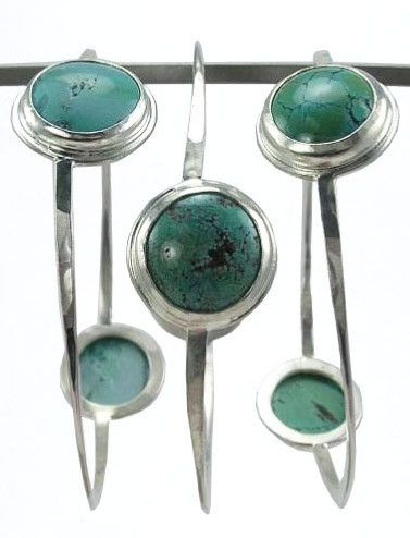 Bangles in Rhodium with Turquoise Stones