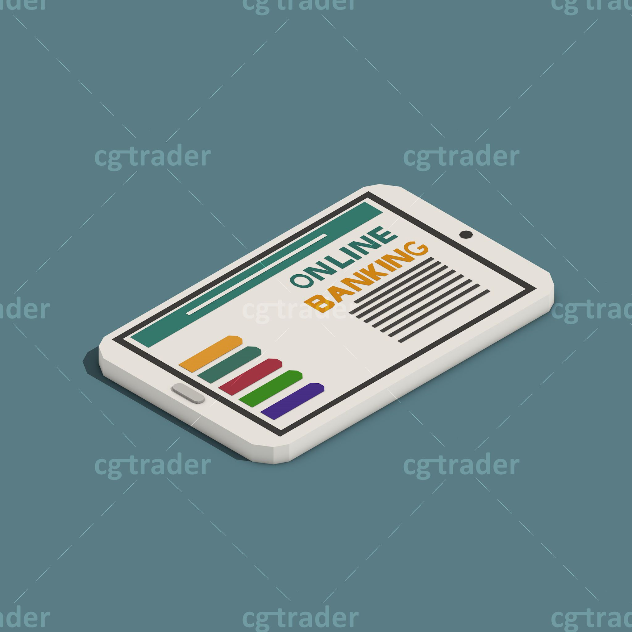 Low Poly Tablet Payment Methods Isometric 3d Asset Cgtrader