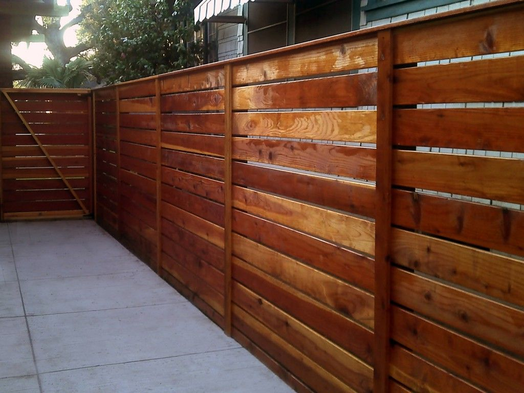 Horizontal Modern Redwood Fence 1x6 With 1x4 Divider Redwood