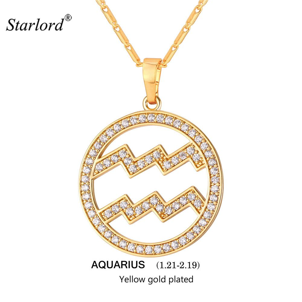 zodiac charms aquarius pendant necklace simple womenmen