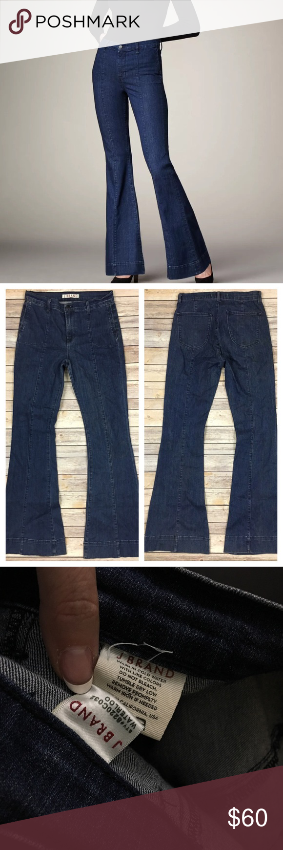"J Brand Loni Waterloo High Rise Flared Jeans 30x35 Tag Size - Unknown Waist Measured Across - 15.5"" Inseam - 35"" Rise - 11"" Good Used Condition.  The size tag has been removed.  Please note measurements to ensure proper fit. J Brand Jeans Flare & Wide Leg"