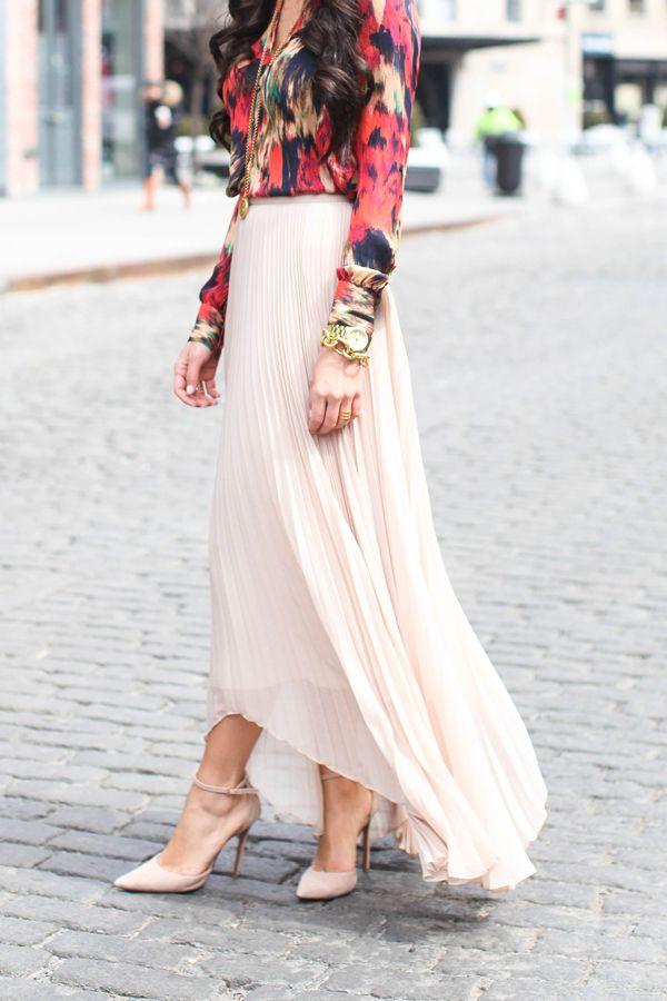 Haute Hippie blouse // Alice + Olivia skirt // Schutz heels // Julie Vos jewelry // Celine sunglasses