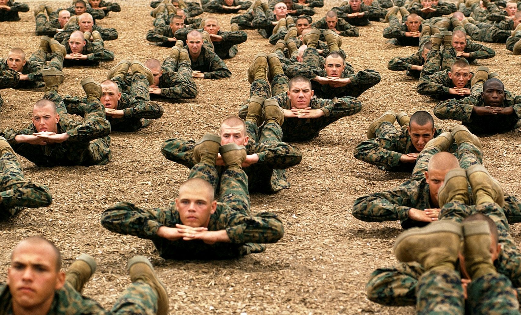 United States Marine Corps recruits at Marine Corps Recruit Depot ...